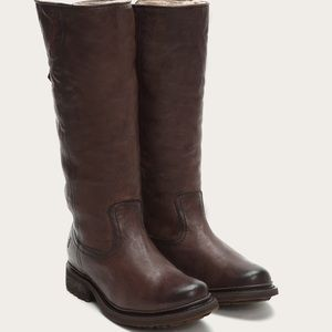 Frye Valerie Shearling Pull On Boots in Dark Brown